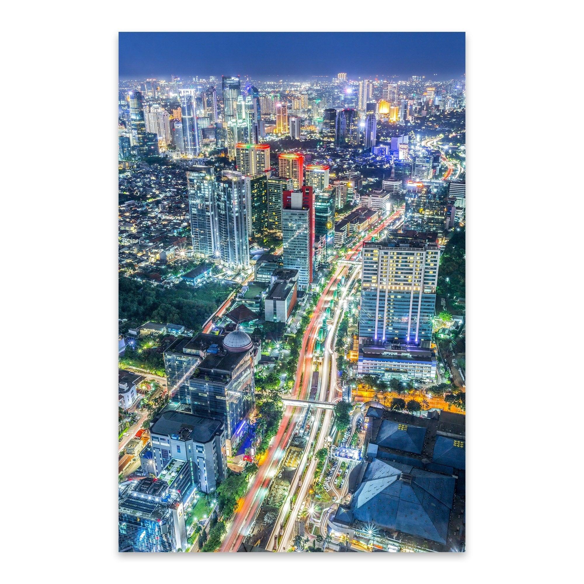 Shop Noir Gallery Jakarta Indonesia Skyline Night Metal Wall Art - Print Puzzle Jakarta