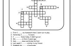 Simple Past Crossword Worksheet   Free Esl Printable Worksheets Made   Past Tense Crossword Puzzle Printable