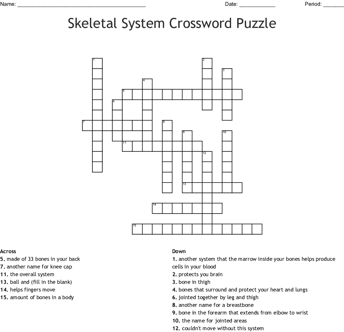 Skeletal System Crossword Puzzle Crossword - Wordmint - Printable Skeletal System Crossword Puzzle