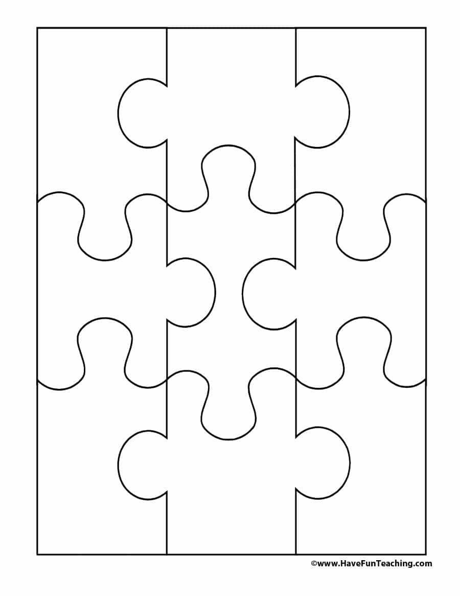 Small Puzzle Pieces Template - 8 Piece Puzzle Printable