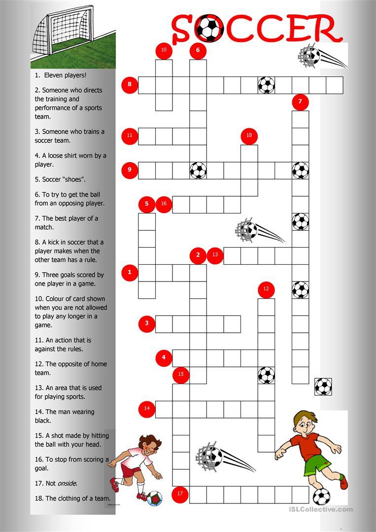 Soccer Crossword Worksheet - Free Esl Printable Worksheets Made - Printable Crossword Puzzles Soccer