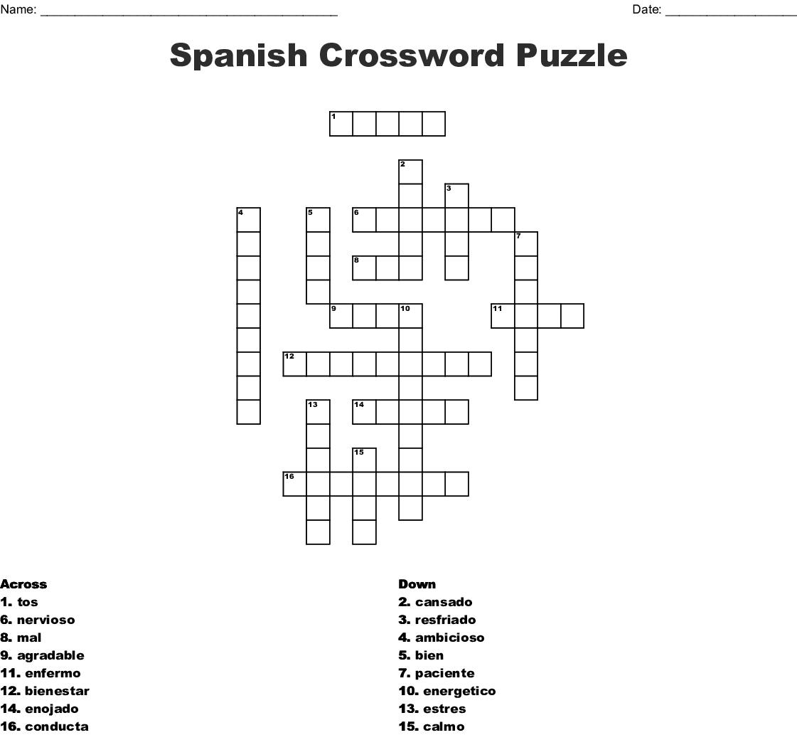 Spanish Crossword Puzzle Crossword - Wordmint - Printable Spanish Crossword Puzzle Answers