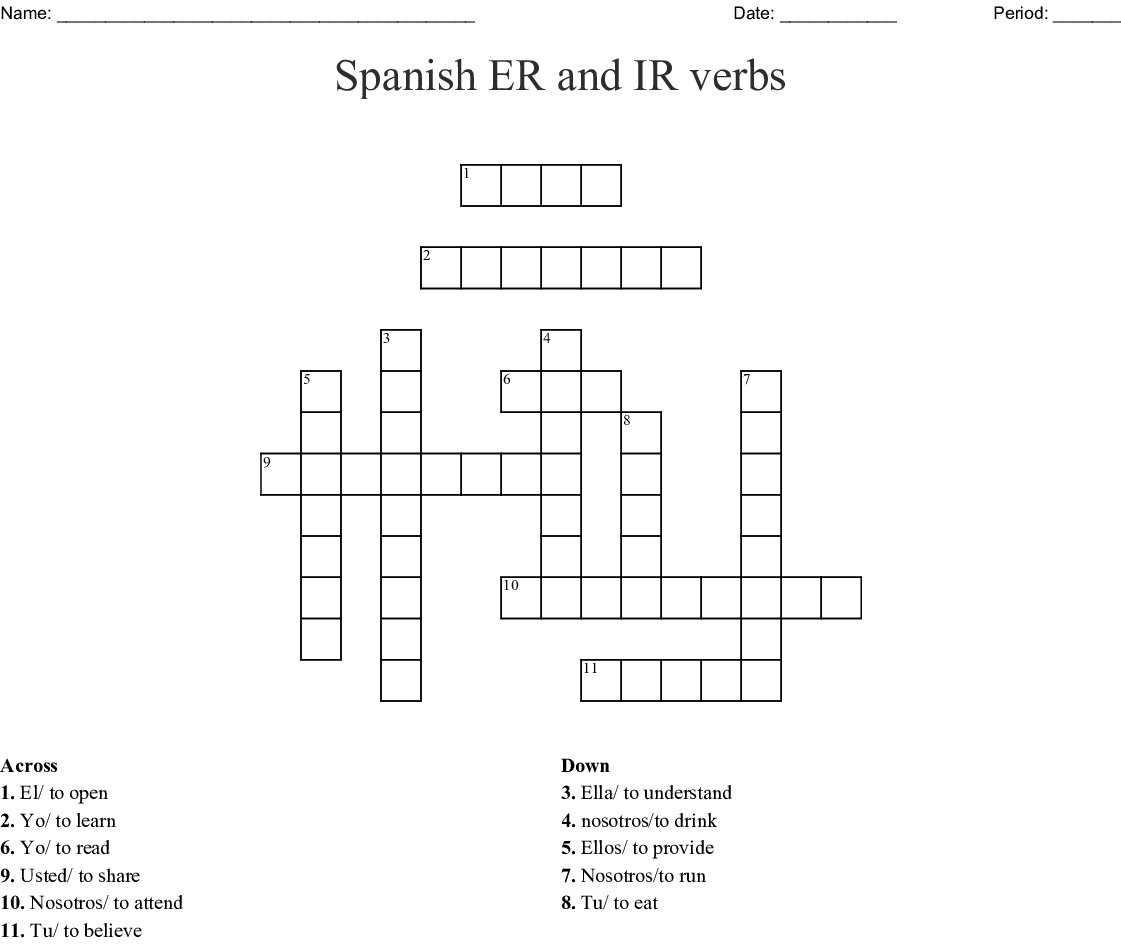 Spanish Er And Ir Verbs Crossword - Wordmint - Crossword Puzzle Printable In Spanish