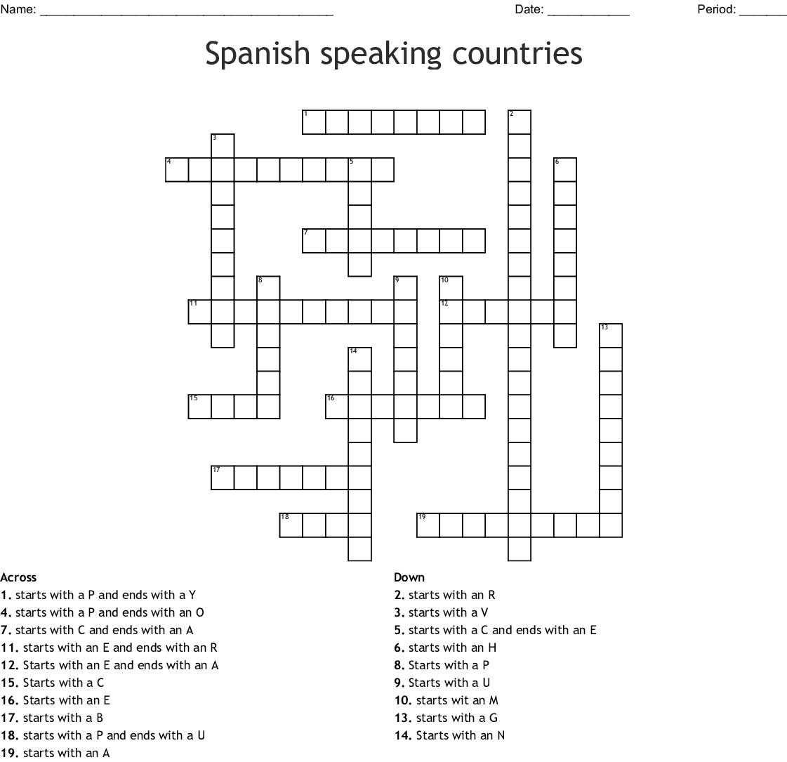 Spanish Speaking Countries Crossword - Wordmint - Printable Spanish Crossword Puzzle Answers