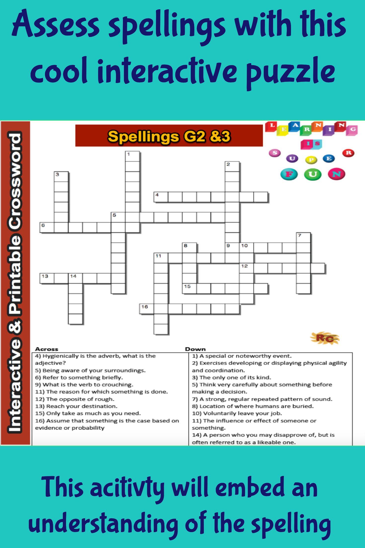 Spelling Grade 2&3 Interactive & Printable Crossword Puzzle | Word - Fun Crossword Puzzles Printable