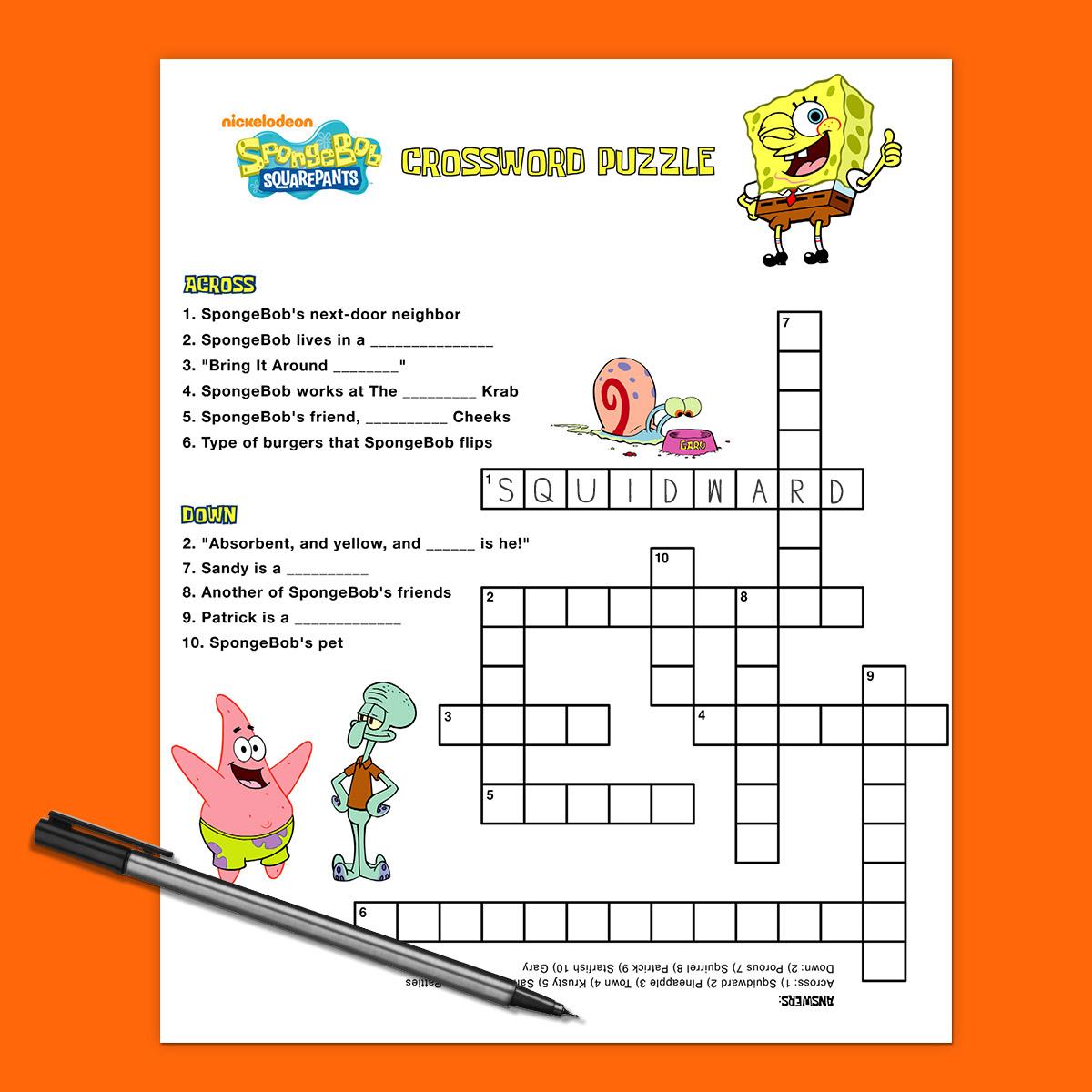 Spongebob Crossword Puzzle | Nickelodeon Parents - Printable Cartoon Crossword Puzzles