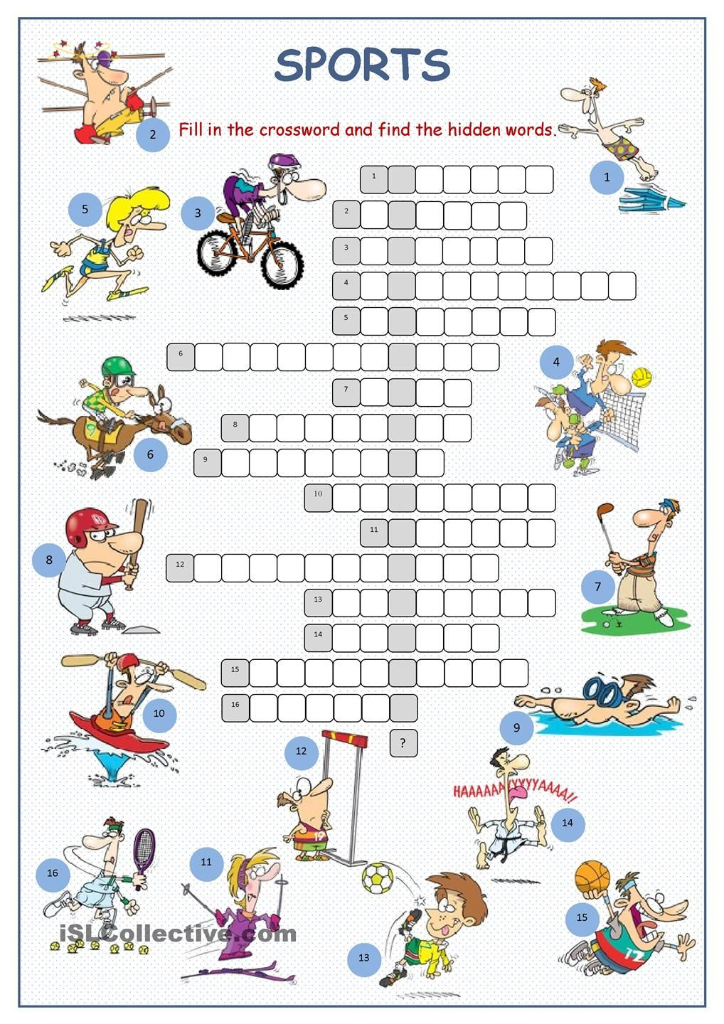 Sports Crossword Puzzle | English | Sports Crossword, Sport English - Printable Crossword Puzzles About Sports