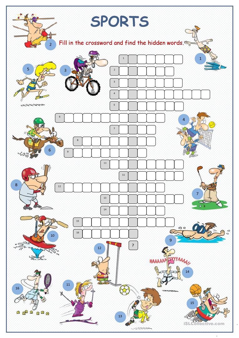 Sports Crossword Puzzle Worksheet - Free Esl Printable Worksheets - Crossword Puzzles For Esl Students Printable