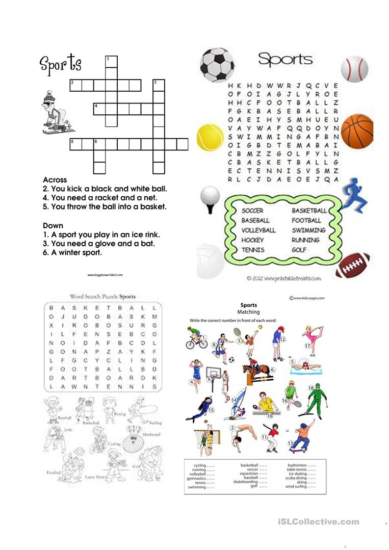 Sports Wordsearch And Crosswords Worksheet - Free Esl Printable - Printable Crosswords Rugby
