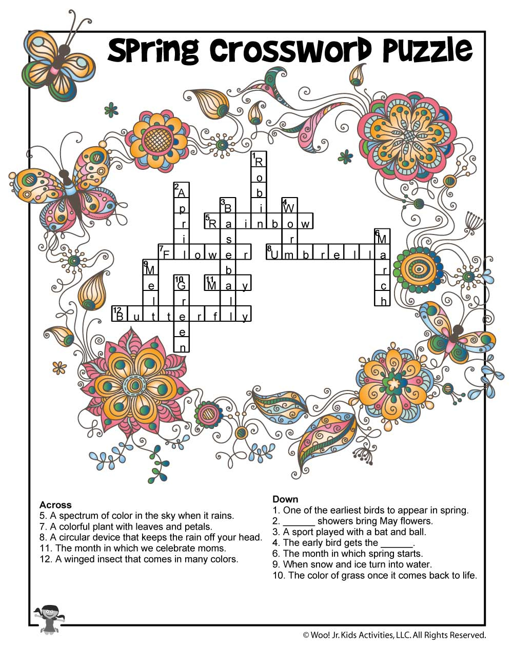 Spring Crossword Puzzle For Kids - Answer Key | Woo! Jr. Kids Activities - Printable Crossword Spring
