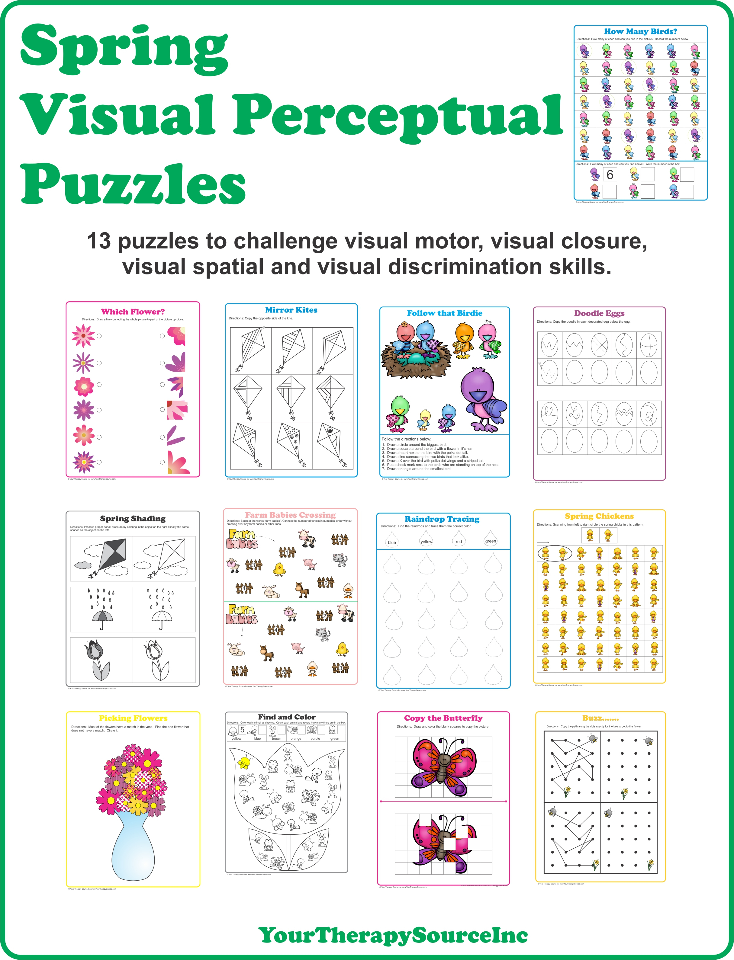 Spring Visual Perceptual Puzzles - Your Therapy Source - Printable Spring Puzzles