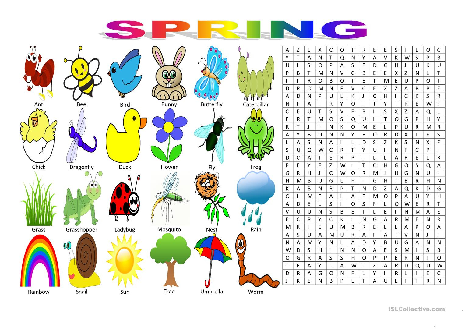 Spring Vocabulary (Wordsearch Puzzle) Worksheet - Free Esl Printable - Printable Vocabulary Puzzles