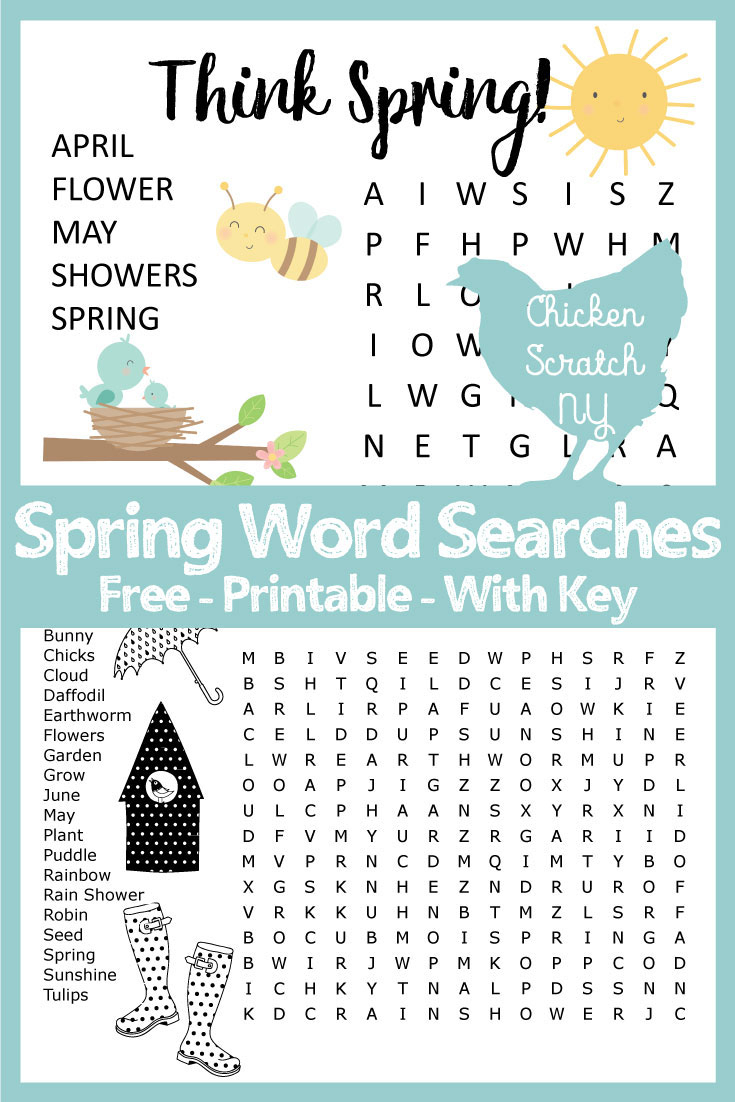 Spring Word Search - Printable Spring Puzzles