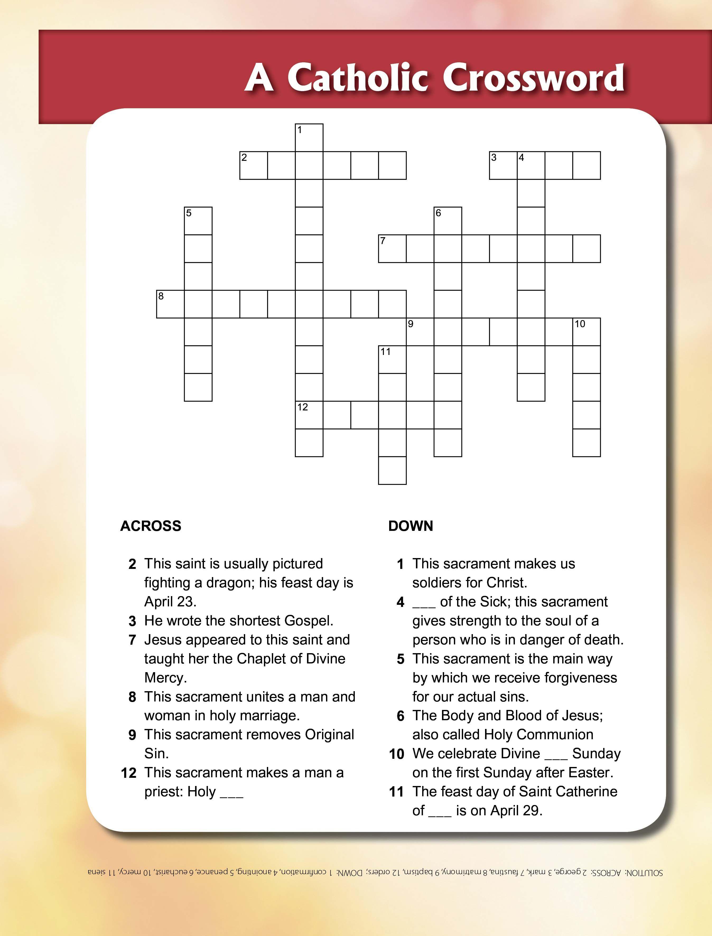 St George & Sacraments Crossword - | Printable Activities For Kids - Printable Holy Week Crossword Puzzle