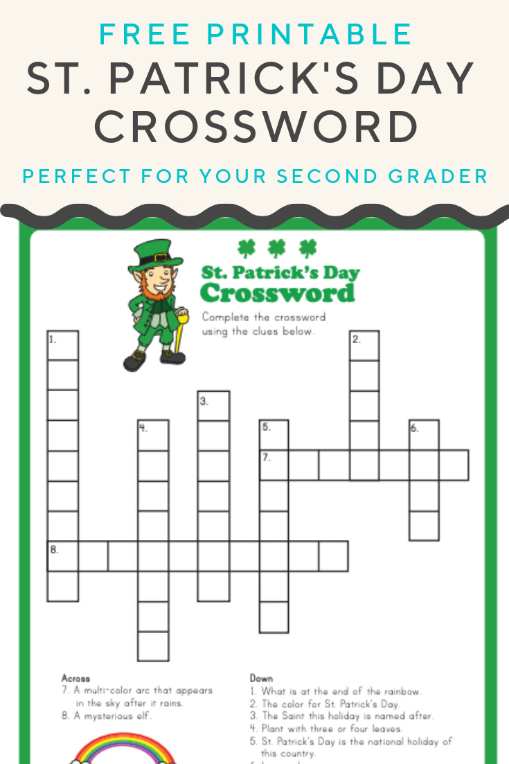 St. Patrick's Crossword | Elementary Activities And Resources | St - Free Printable St Patrick's Day Crossword Puzzles