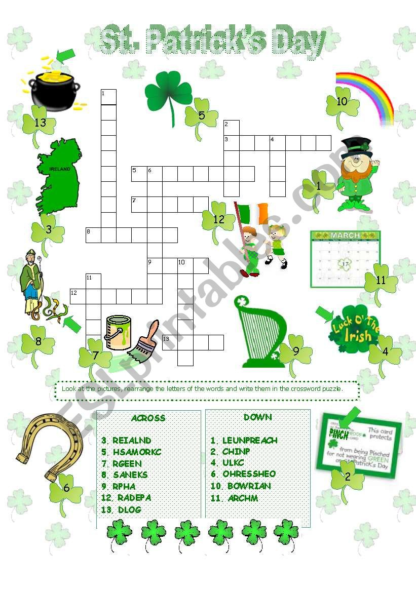 St. Patrick´s Day Crossword - Esl Worksheetanna P - St Patrick's Day Crossword Puzzle Printable
