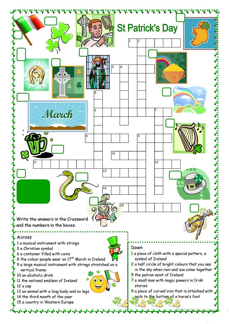 St Patrick's Day Crossword Worksheet - Free Esl Printable Worksheets - Free Printable St Patrick's Day Crossword Puzzles