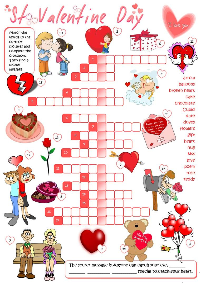 St Valentine's Day - Crossword Worksheet - Free Esl Printable - Printable Valentines Crossword