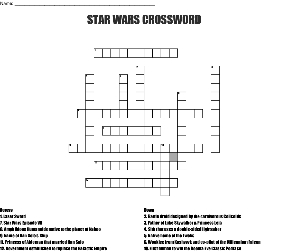 Star Wars Crossword - Wordmint - Star Wars Crossword Puzzle Printable