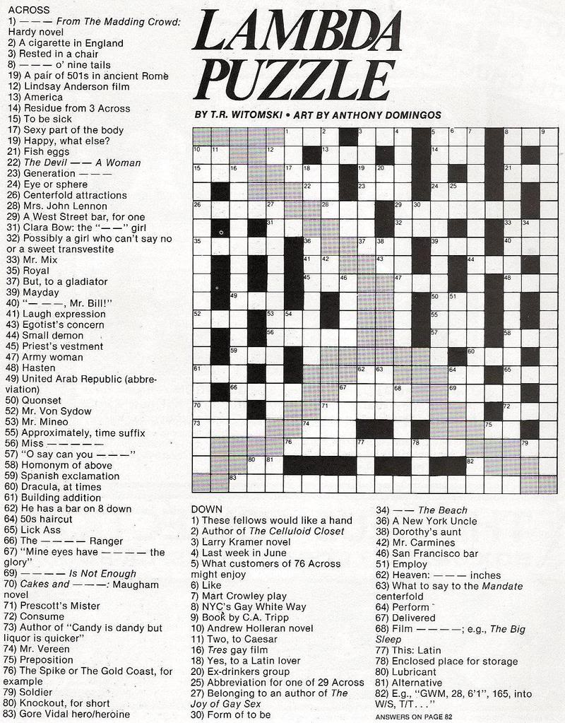Stinkylulu: Gay Pride Crossword Puzzle (Homo Heritage Fridays) - Printable Crossword Puzzles Entertainment