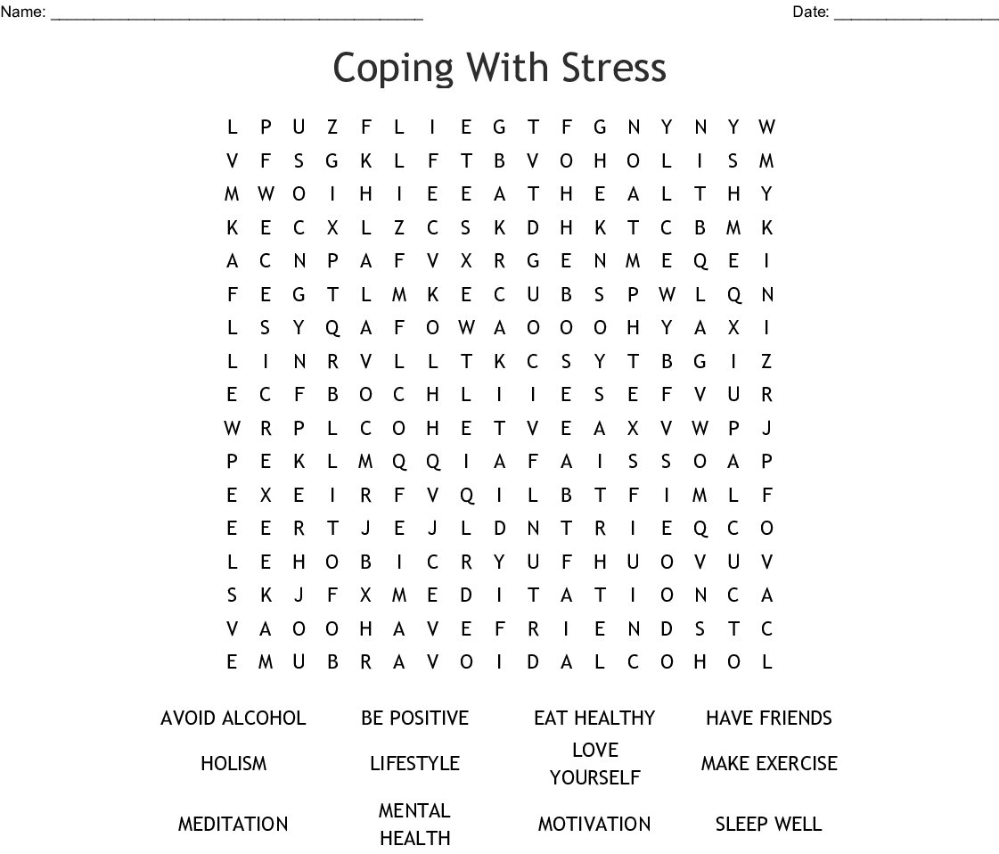 Stress Word Search For Words – Jerusalem House - Printable Stress Management Crossword Puzzle