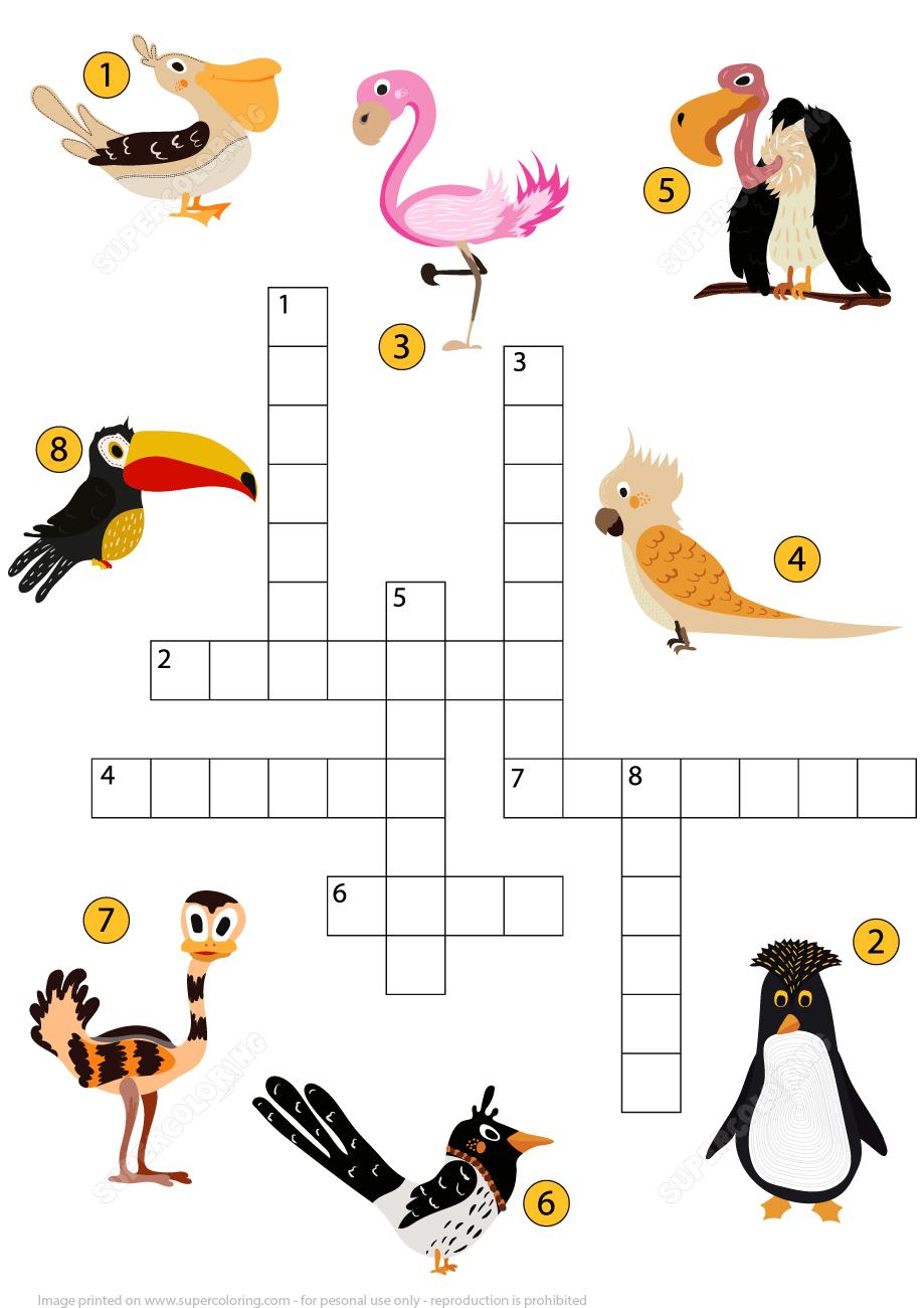 Study Birds Crossword Puzzle | Free Printable Puzzle Games - Printable Bird Puzzles