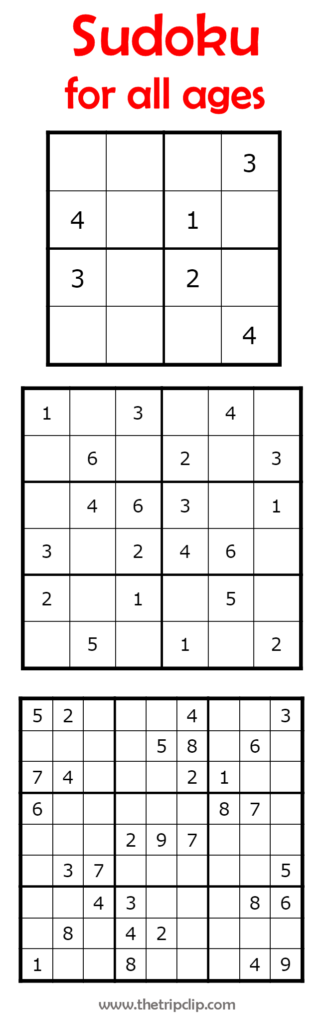 Sudoku For All Ages Plus Lots Of Other Printable Activities For Kids - Printable Puzzles 4X4