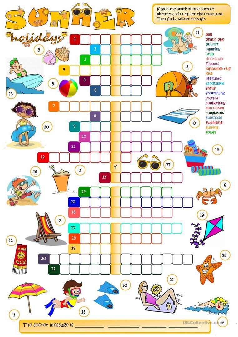 Summer Holidays - Crossword Worksheet - Free Esl Printable - Printable Holiday Crossword