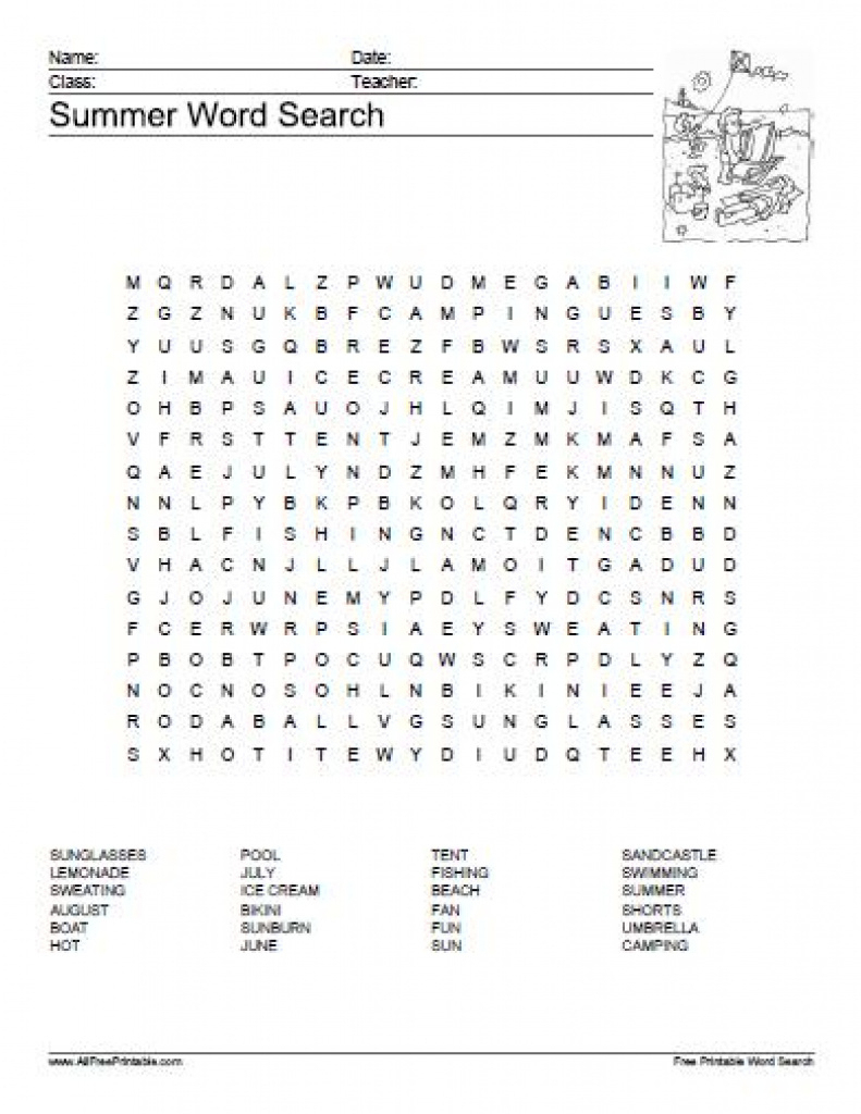 Summer Word Search Puzzle - Free Printable - Allfreeprintable For - Sun Crossword Printable Version