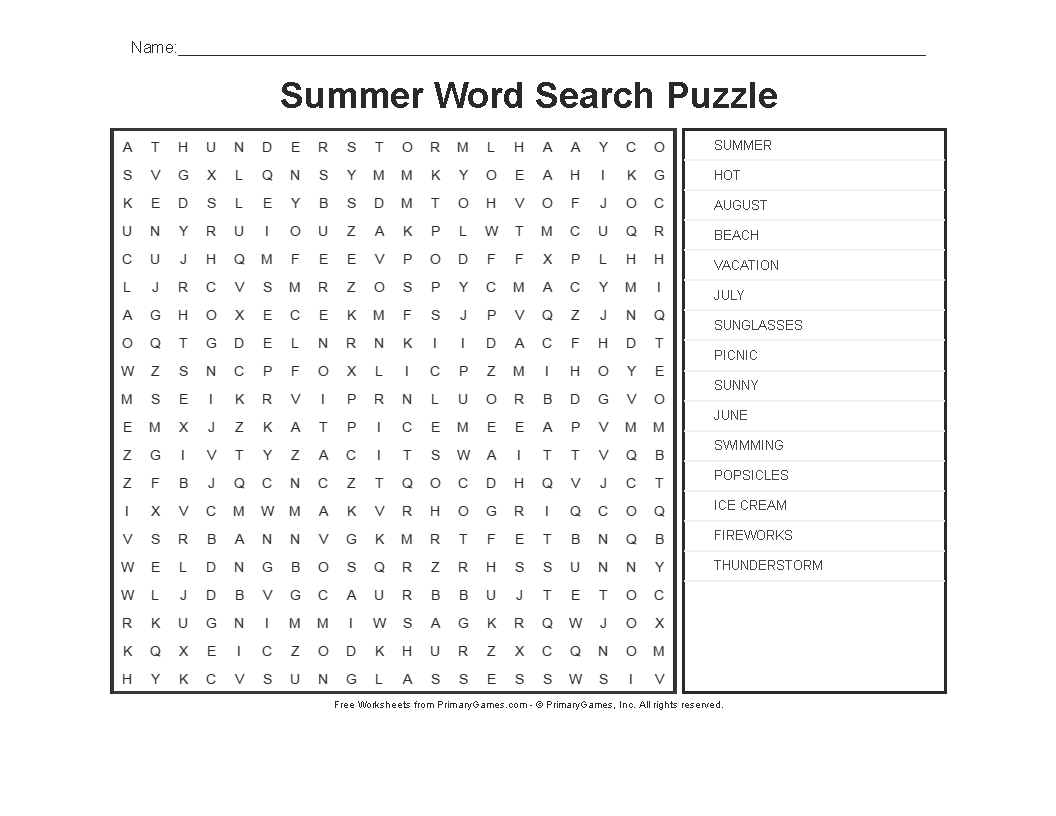 Summer Worksheets: Summer Word Search Puzzle - Primarygames - Play - Printable Summer Crossword Puzzles