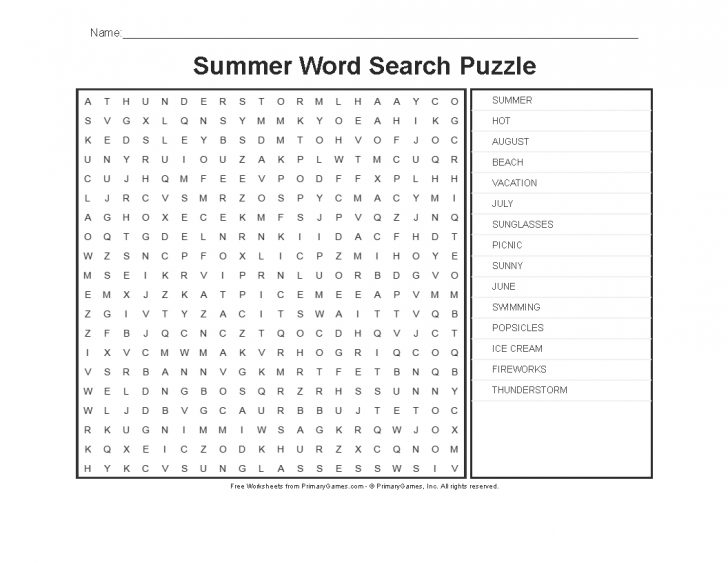 Summer Crossword Puzzle Printable