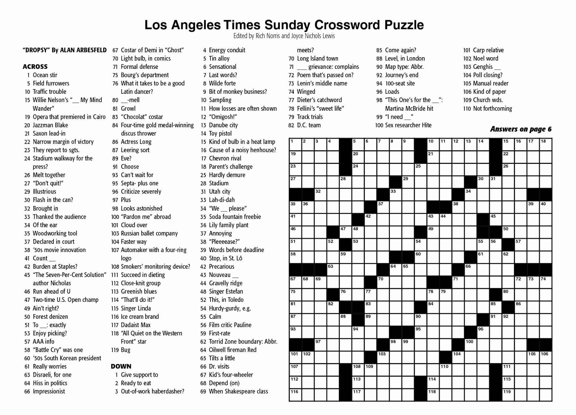 Sunday Crossword Puzzle Printable Ny Times Syndicated Answers - Free - La Times Sunday Crossword Puzzle Printable