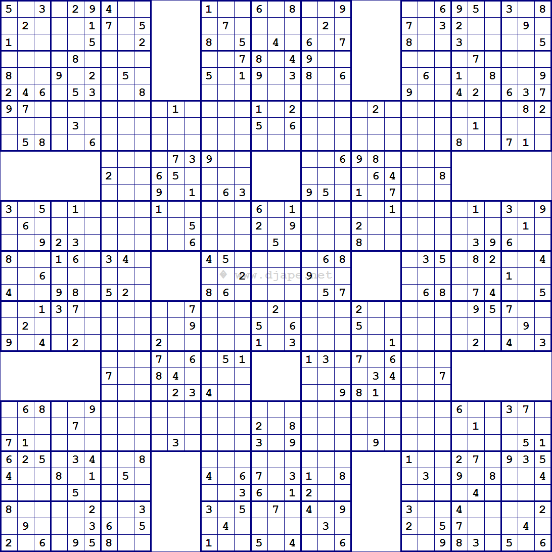 Super Samurai Sudoku 13 Gridsdjape | Sudoku, Coloring, Mazes - Sudoku X Printable Puzzles