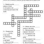 """Superlative Adjectives Worksheet   """"in The World"""" Crossword Puzzle   Printable English Crossword Puzzles With Answers Pdf"""