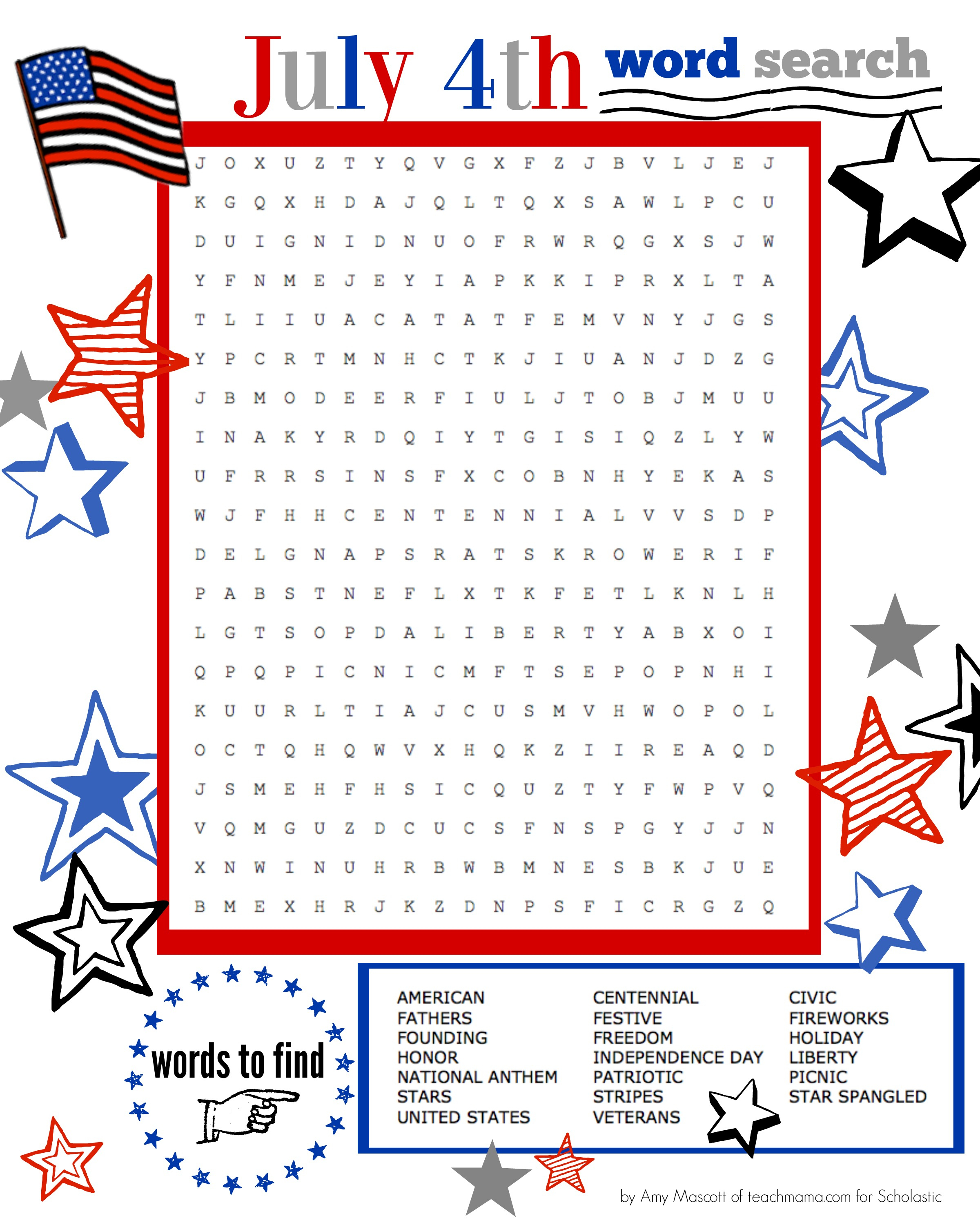 Superstar Celebration: July 4Th Word Search Printable | Scholastic - Printable 4Th Of July Crossword Puzzle