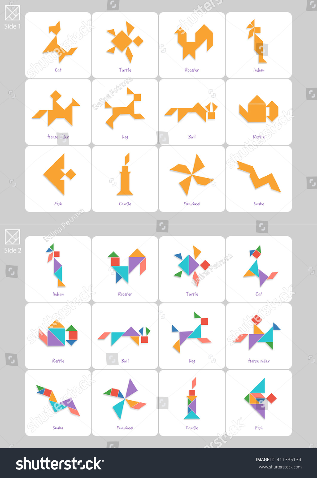 Tangram Set Task Solution Cards Captions Stock Vector (Royalty Free - Printable Tangram Puzzles And Solutions