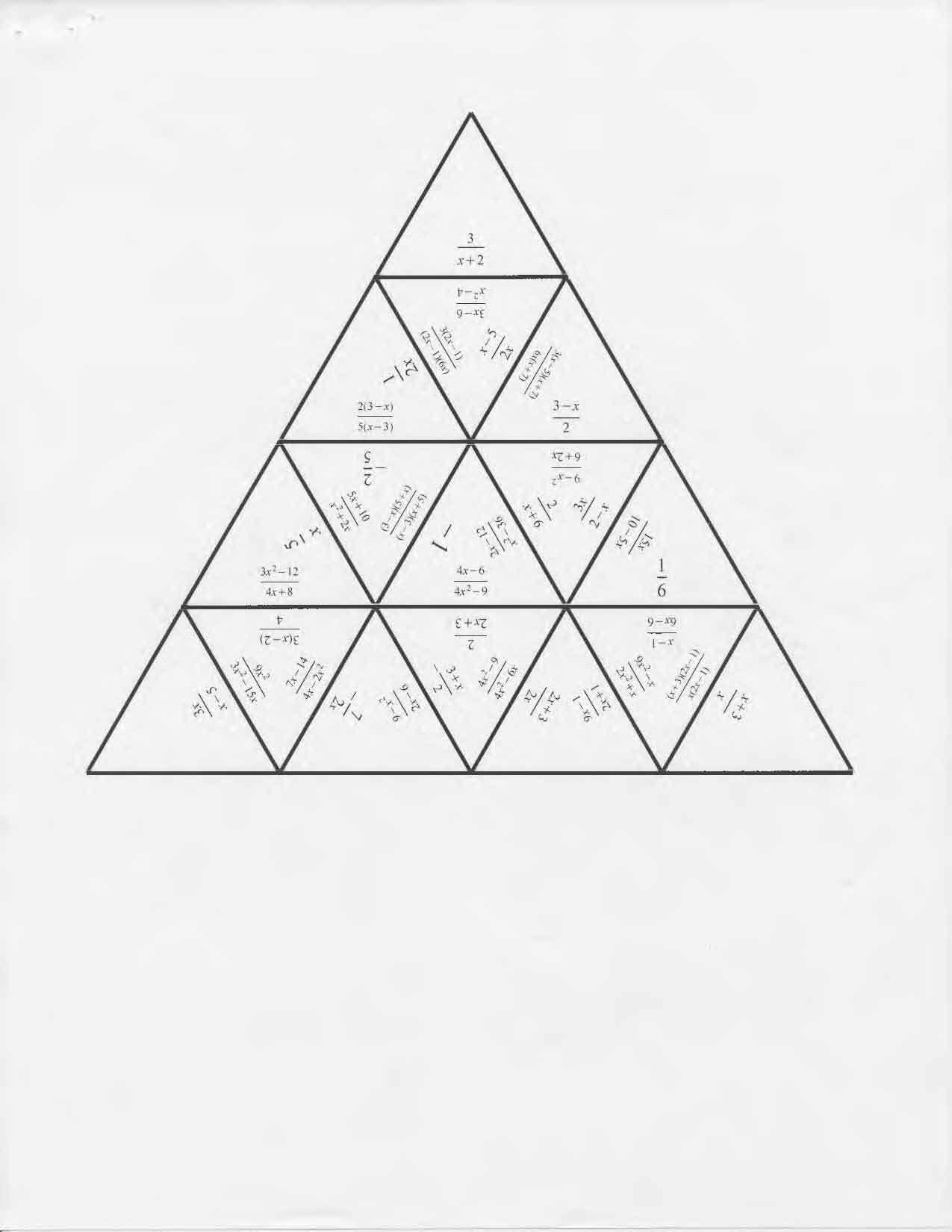 Tarsia Puzzle Simplify Rational Expressions   Algebra   Simplifying - Printable Tarsia Puzzles English