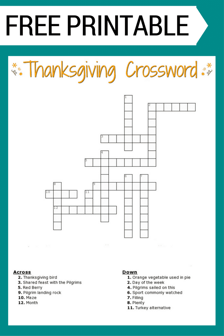 Thanksgiving Crossword Puzzle Free Printable - Crossword Puzzles Vocabulary Printable