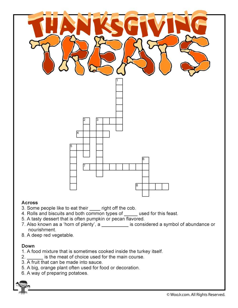 Thanksgiving Crossword Puzzle   Woo! Jr. Kids Activities - Printable Thanksgiving Crossword Puzzles