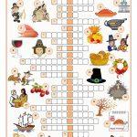Thanksgiving Crossword Puzzle Worksheet   Free Esl Printable   Difficult Thanksgiving Crossword Puzzles Printable