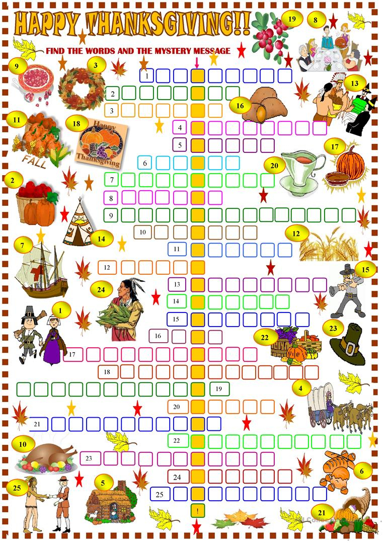 Thanksgiving: Crossword Puzzle Worksheet - Free Esl Printable - Free Printable Crossword Puzzles Thanksgiving