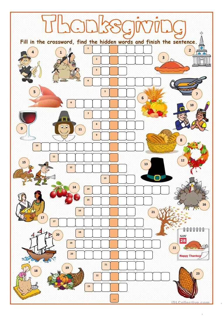 Thanksgiving Crossword Puzzle Worksheet - Free Esl Printable - Printable Thanksgiving Crossword