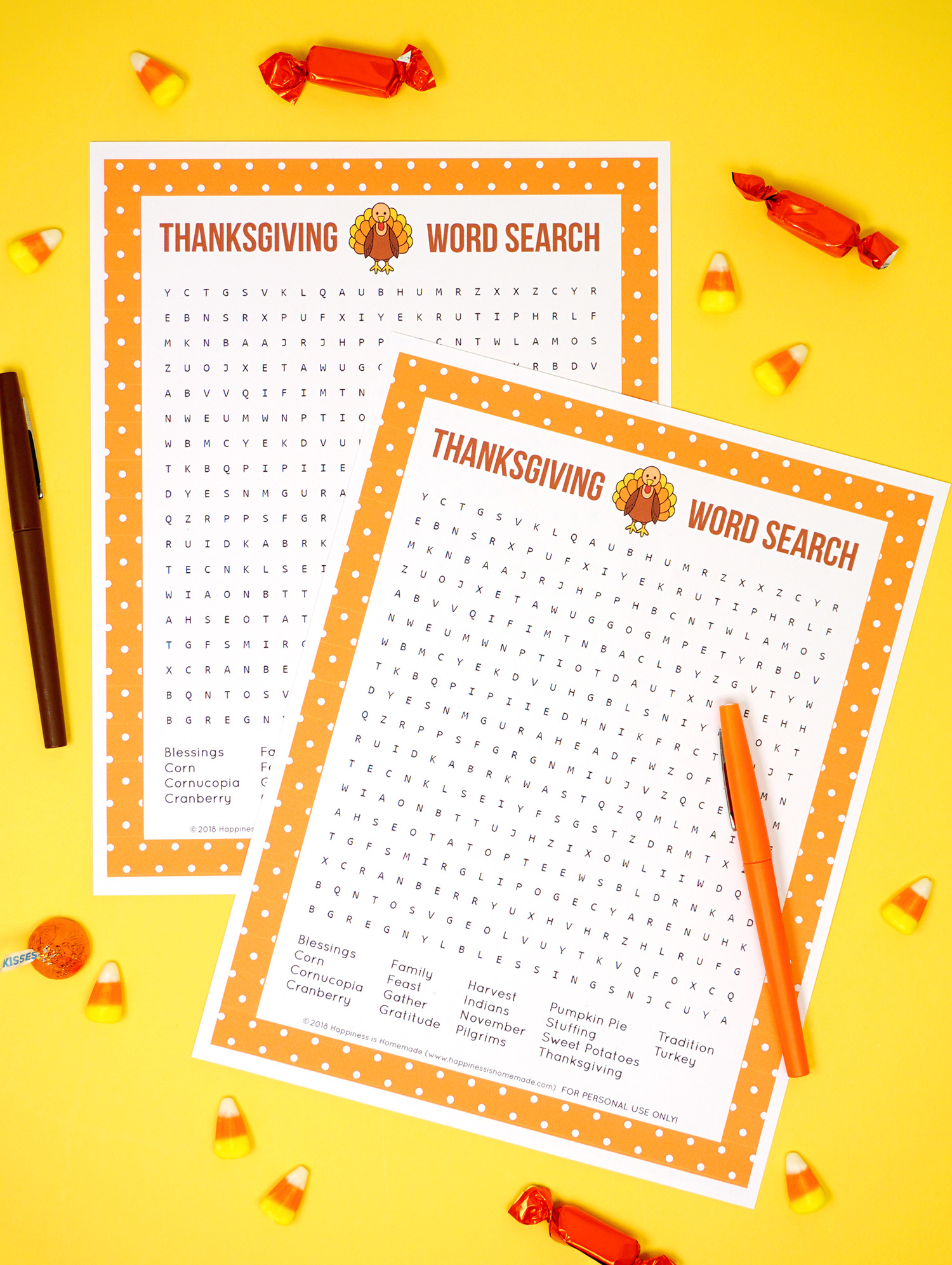 Thanksgiving Word Search Printable - Happiness Is Homemade - Printable Thanksgiving Puzzle
