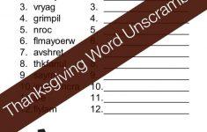 Thanksgiving Word Unscramble Free Printable | Superheroes And   Free Printable Unscramble Puzzles