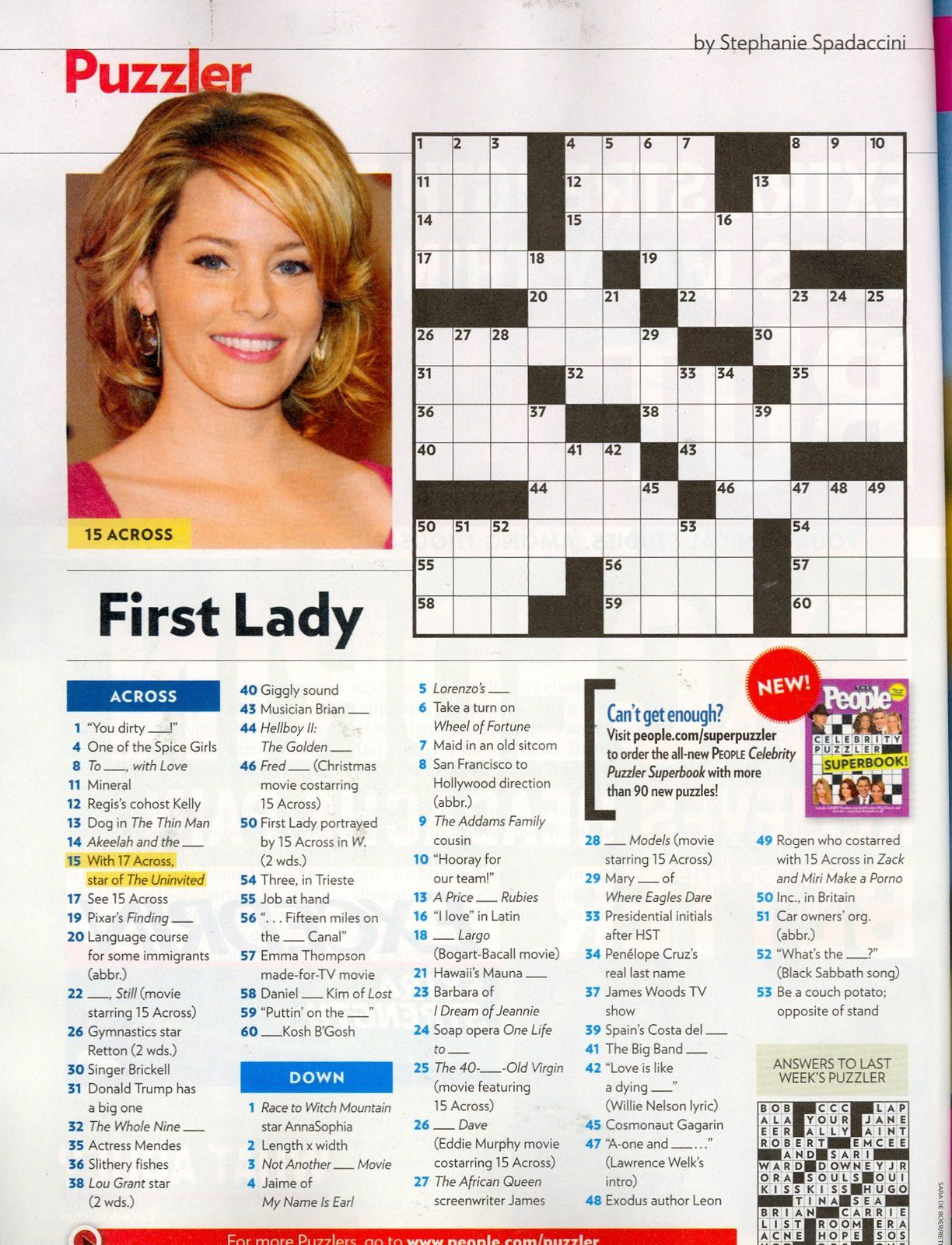 That Time I Was In People Magazine's Crossword. #tbt | Geeky Stuff - Star Magazine Crossword Puzzles Printable