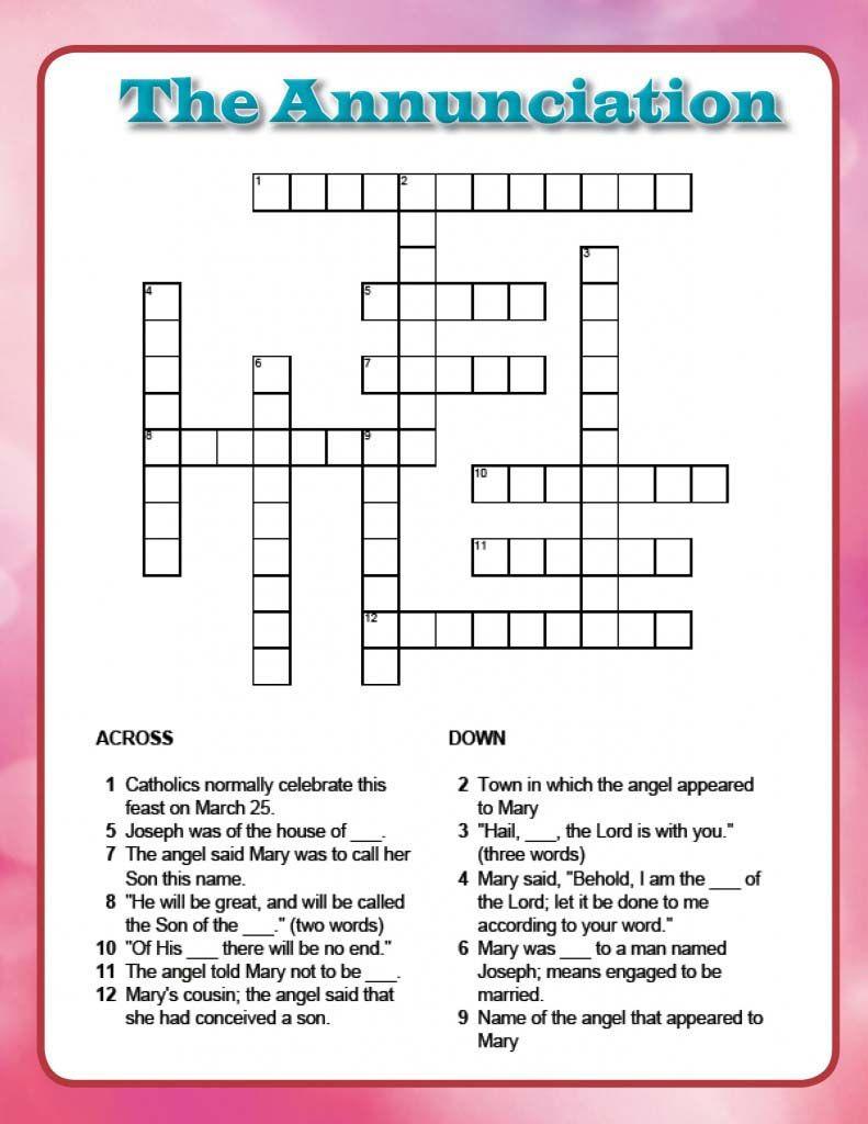 The Annunciation Crossword | Religion | Crossword, Art, Trivia - Printable Joseph Crossword