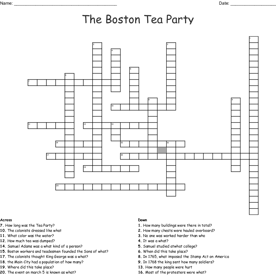 The Boston Tea Party Crossword - Wordmint - Printable Crossword Puzzle Boston Globe