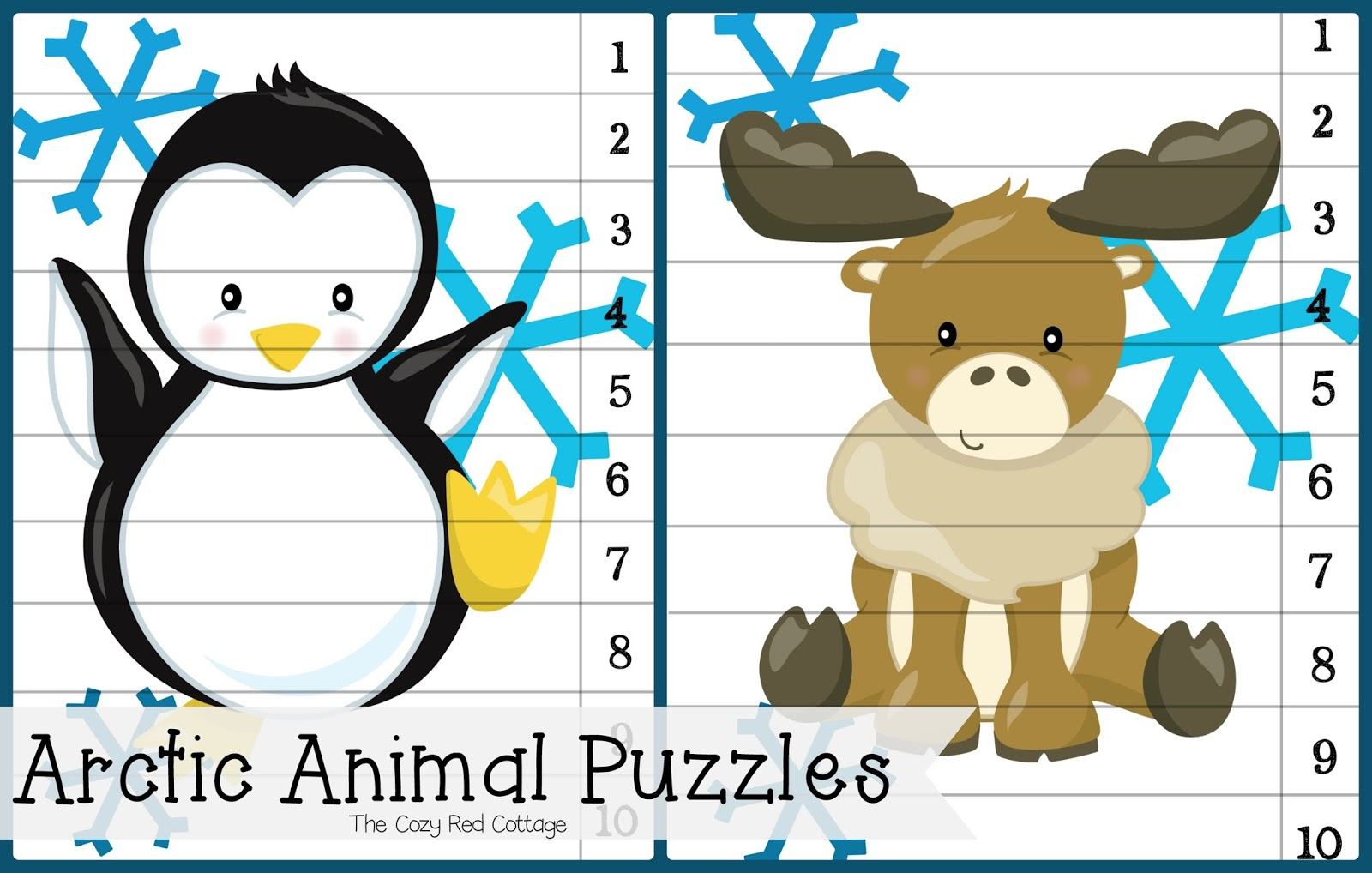 The Cozy Red Cottage: Arctic Animal Puzzles And I Spy Game (Free - Printable Animal Puzzles