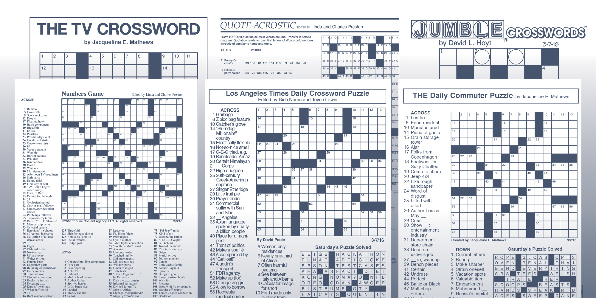 The Daily Commuter Puzzlejackie Mathews | Tribune Content Agency - Printable Crossword Puzzles By Jacqueline Mathews
