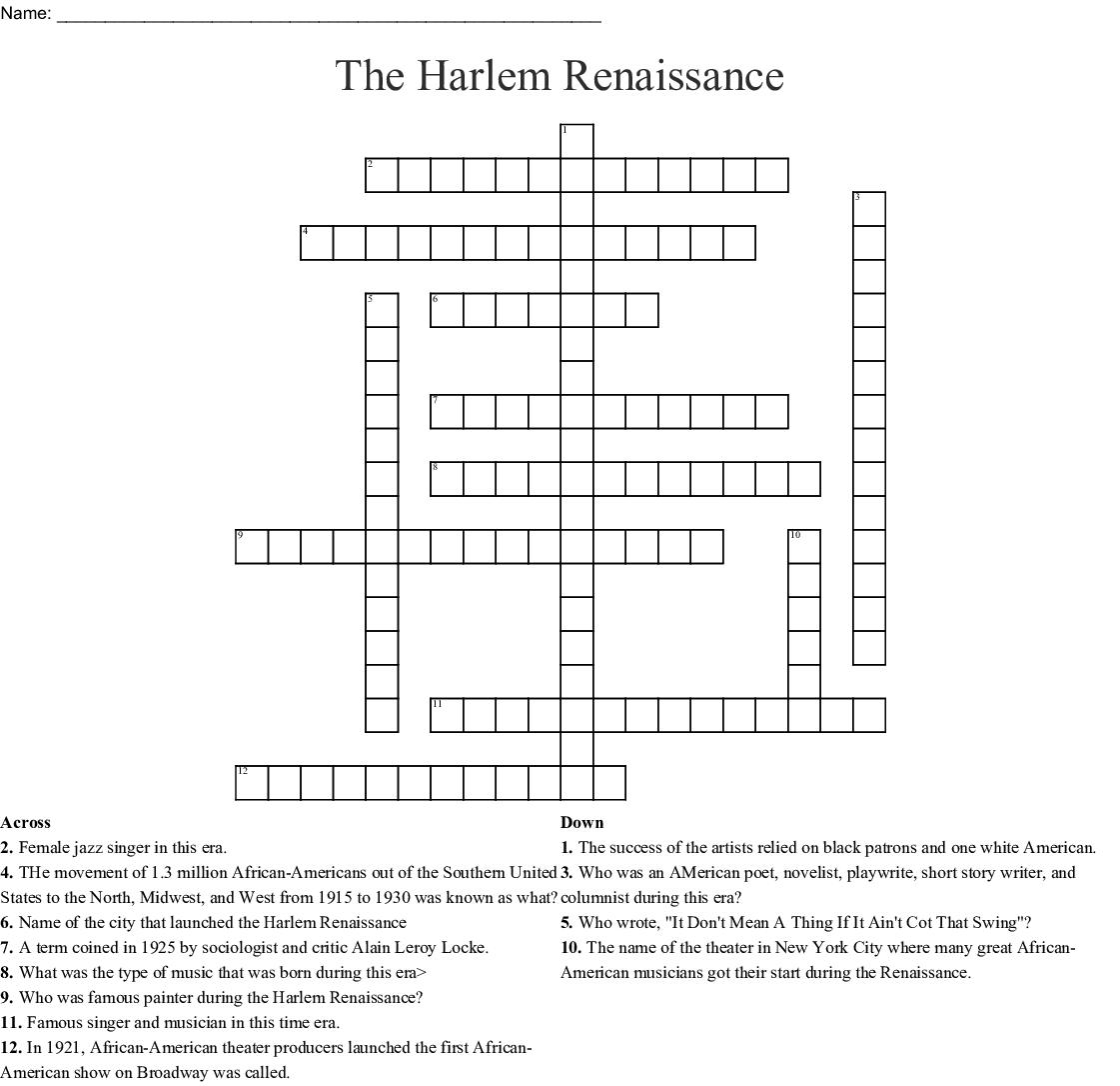 The Harlem Renaissance Crossword - Wordmint - Renaissance Crossword Puzzle Printable